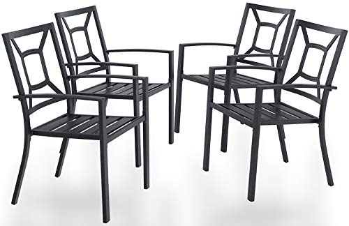 PHI VILLA Metal Patio Dining Chairs Set of 4 Pack with Armrest for Kitchen,Backyard,Balcony - Black Outdoor Furniture