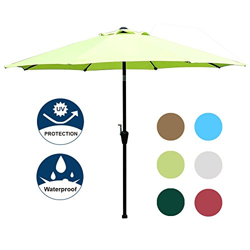 Blissun 9' Outdoor Market Patio Umbrella with Auto Tilt and Crank, 8 Ribs (Light Green)