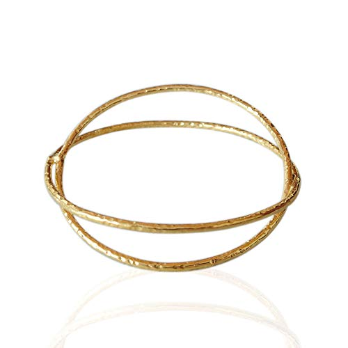 Handcrafted Gold Plated Brass Designer Stackable Bangle Bracelet For Women, Birthday Gift Jewelry, Unique Gift For Her