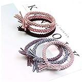 KUANGWENC Cuerda de trenza para mujer y niña, bandas elásticas de goma para el cabello, accesorios para niños, anillo de corbata para niños, 6 unidades