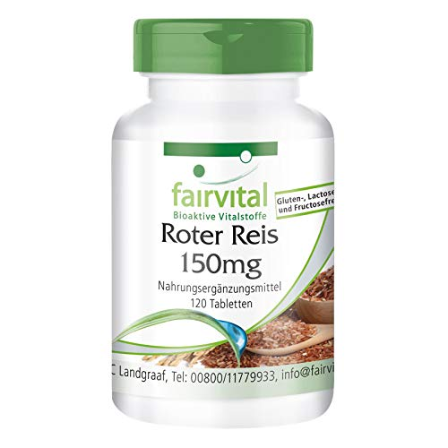 Roter Reis Extrakt 150mg - HOCHDOSIERT mit 4,5mg Monacolin K - Monascus purpureus - VEGAN - 120 Tabletten