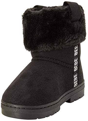 bebe Girls' Microsuede Winter Boots with Faux Fur Cuff, Size 4 Big Kid, Black