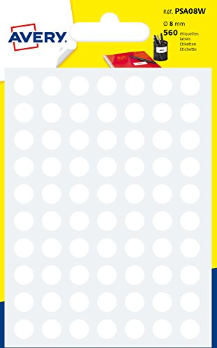 AVERY - Sachet de 560 pastilles blanches autocollantes, Diamètre 8mm