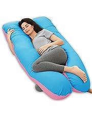 Wndy's Dream Graviditetskudde U-formad helkroppskudde moderskapskudde stöd för rygg, höfter, ben, mage (140 x 78 cm, rosa-blå)