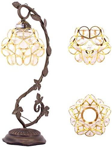 Tiffany Desk Lamp Stained Glass Table Reading Light Clear Lover Flower Petals Copper Style Shade product image