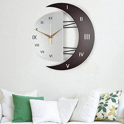 WHSS Reloj de pared Reloj de pared Moda Creativo Mute Luna Marco de Imagen Colgante En Tiempo Reloj de Cuarzo