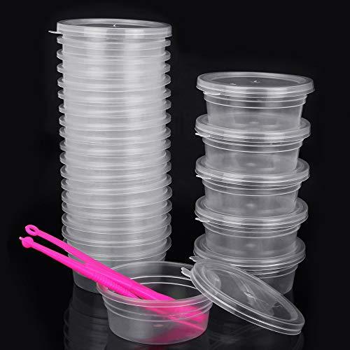 PERFETSELL 24 Stück Slime Aufbewahrungsbehälter Transparenter Schleim Floam Beads Behälter Kunststoff Aufbewahrungsschleim mit Decke für Schleim Schmuck
