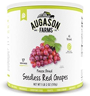 Augason Farms Freeze Dried Red Seedless Grapes (Pack of 24)