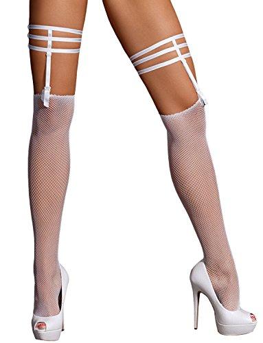 Axami V-7514 Jasmin Dame Strümpfe Strumpfband Regulierbare Strapse Durchsichtig, Weiß,XL