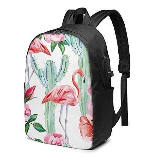 XCNGG Mochila para portátil, Mochila Ligera de Viaje de 17 Pulgadas con Puerto de Carga USB Cactus Flamingo Rose Flowers