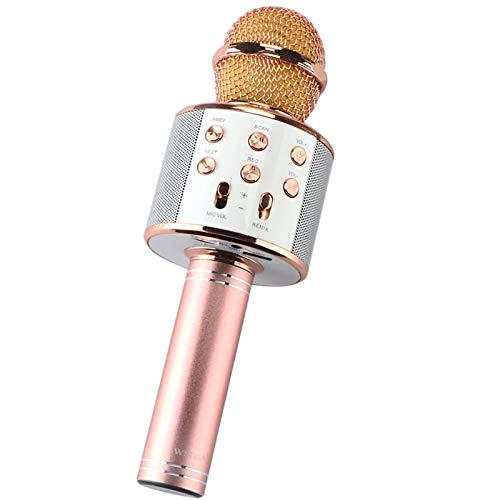 XuZeLii Microphone portable wireless karaoke microphone for meeting, voice chat, karaoke suitable for playing music (colour: rose gold, size: one size)
