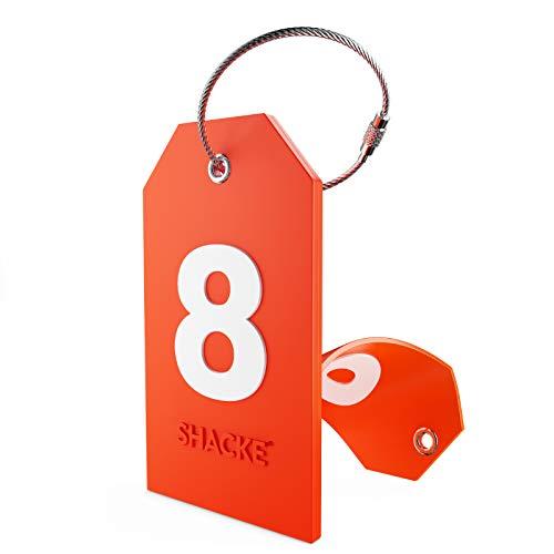Etiqueta de Equipaje Inicial con Cubierta de privacidad Completa y Bucle de Acero Inoxidable (número 8)