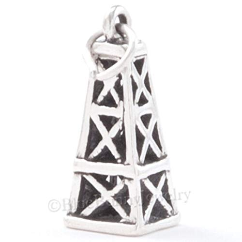 Charm Pendant - Jewelry Making DIY - Bracelet Oil Derrick Rig Bracelet Solid 925 Sterling Silver Texas Travel 3D