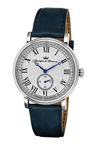 YONGER&BRESSON heren multi-wijzerplaat kwarts horloge met lederen armband HCC 077/BS26