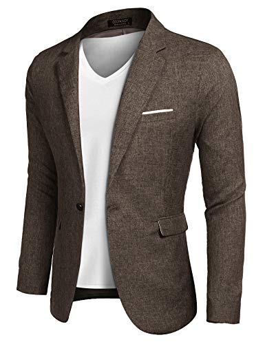 COOFANDY Mens Cotton Casual Lapel Blazer Jacket Lightweight Sport Coat