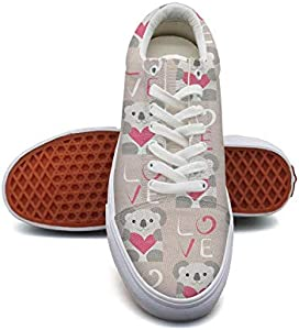 Women'slove Koala Bear Stickers Canvas Shoes Low-Cut Straps Funky Sneakers Suitable for Walking