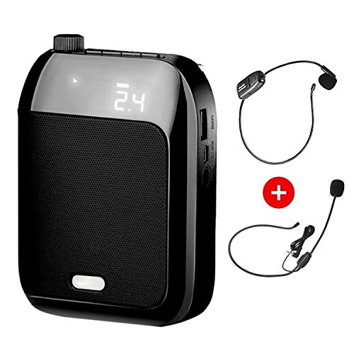 拡声器 無線拡声器 2.4G技術内蔵 ワイヤレスポータブル拡声器 ハンズフリー拡声器 ワイヤレスマイク付属 音楽再生/ラジオ放送/拡声/対応 高音質 USB充電式 TF/SDカード対応(黒)