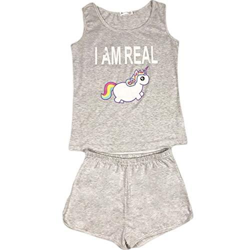 Pijama Mujer Verano Conjunto Sin Mangas Unicornio Impresión Camiseta y Pantalones Cortos Ropa de Dormir Dos Piezas