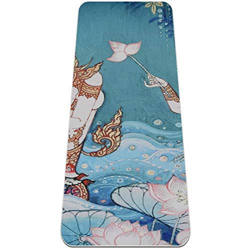 gdfgd Esterilla de yoga tailandesa con grosor de 0,6 cm de superficie antideslizante texturizada en ambos lados. Reversible, ligera y duradera. Perfecta para yoga, pilates, estiramiento o gimnasia.