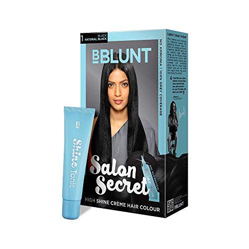 BBLUNT Salon Secret High Shine Creme Hair Colour, Black Natural Black 1, 100g with Shine Tonic, 8ml