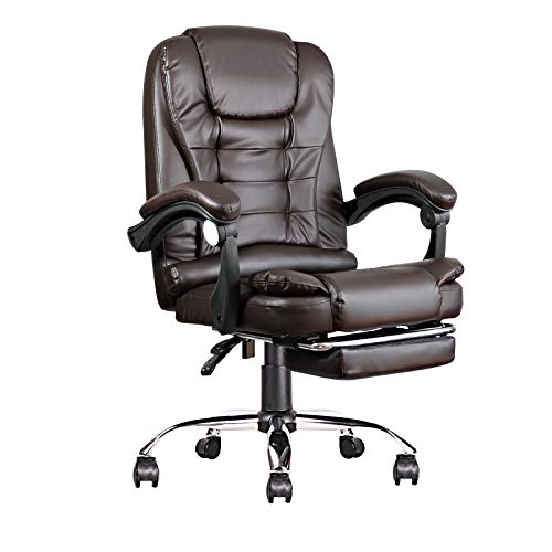 1 Ergonomic Classic Leather Office Chair and Game Chair, Suitable for Office, Study, School and Live Room (Brown)