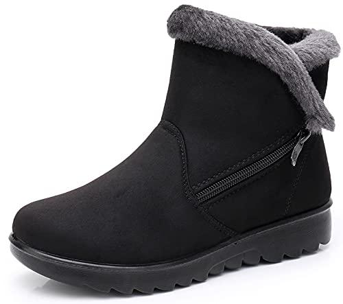 Zapatos Invierno Mujer Botas de Nieve Casual Calzado Piel Forradas Calientes Planas Outdoor Boots Antideslizante Zapatillas para Mujer EU38/fabricante 245,Negro
