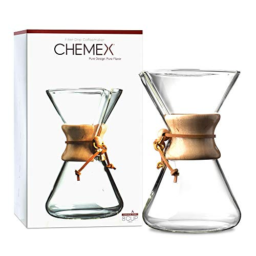 CHEMEX Pour-Over Glass Coffeemaker - Hand Blown Series - 8-Cup