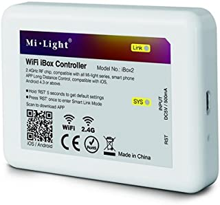 LGIDTECH Milight 2.4GHz WiFi Bridge Controller Hub iBox2 Newest 3.0 Version Wireless for iOS iPhone Android Smartphone Control Mi Light Series Led Bulb,Downlight,Ribbon Controller,Not Work with Alexa