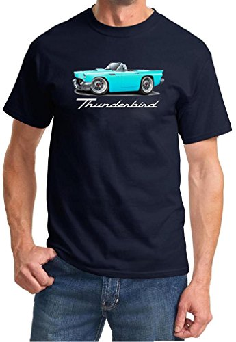 1955 1956 1957 Ford Thunderbird Convertible Full Color Design Tshirt Large Navy Blue