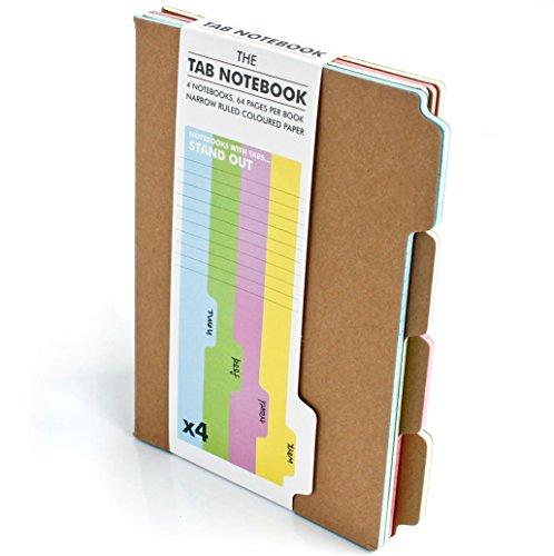 SUCK UK - TAB NOTEBOOK & JOURNAL   OFFICE SUPPLIES & SCHOOL SUPPLIES   PINK BLUE GREEN & YELLOW A5 NOTEPAD   NOVELTY ORGANIZATION TAB FEATURE   SET OF 4