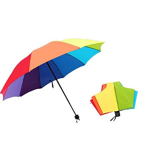 DXIA Paraguas Pliegue del Arco Iris, Parapluie Antiviento, Ligero y Mini, Muy Fuerte, 10 Varillas, Multicolor 10 Colores, 110cm de diamètre,Puede acomodar a Dos Personas