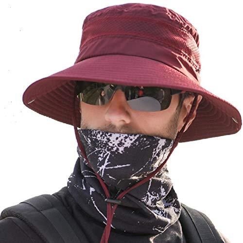 anaoo Sombrero Hombre Gorra de Verano Sombrero Pesca del Sol Gorra al Aire Libre Sombrero Playa Hombre Plegable De ala Ancha Protección UV, Color Rojo