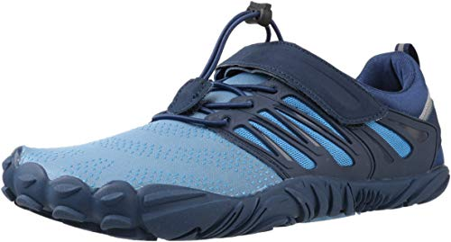 WHITIN Zapatilla Minimalista de Barefoot Trail Running para Hombre Mujer Five Fingers Fivefingers Zapato Descalzo Correr Deportivas Fitness Gimnasio Calzado Asfalto Azul 43