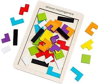 SeeKool Puzzle Tetris de Madera, Tangram Jigsaw Rompecabezas Madera Juego Educativo Brain Teaser Toy, Colorido de Madera G...