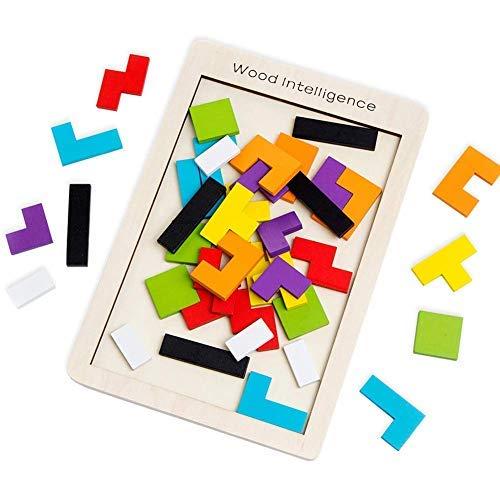SeeKool Puzzle Tetris de Madera, Tangram Jigsaw Rompecabezas Madera Juego Educativo Brain Teaser Toy, Colorido de Madera Geometría Bloque de Construcción Inteligencia Regalo para Niños (40 Pcs)