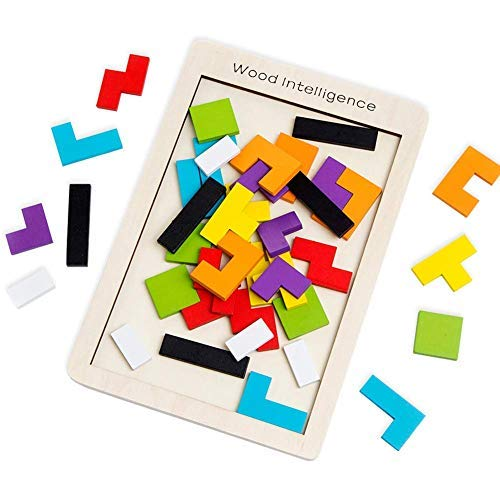 SeeKool Tetris Giochi Legno Puzzle, 40 Pz Tangram Jigsaw Colorato Giocattoli intelligenza Giocattolo in Legno, Blocchi di Formazione Educativa Cervello Gioco Regalo per Bambini Toddlers