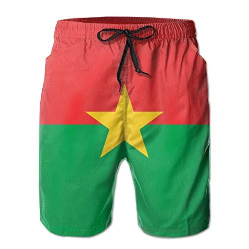 Jiger Beach Shorts Burkina Flag Swim Trunks Boardshort Pants met zakken