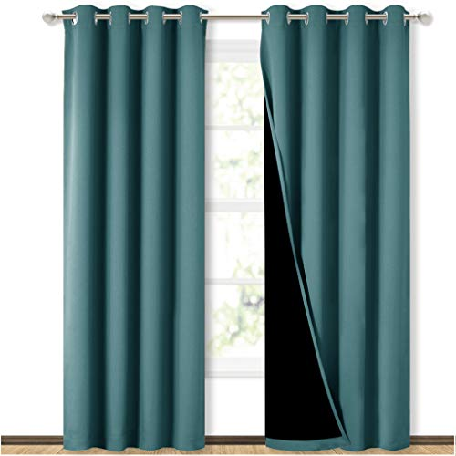 NICETOWN Complete 100% Blackout Curtain Set, Thermal Insulated & Energy Efficiency Window Draperies for Guest Room, Full Shading Panels for Shift Worker and Light Sleepers, Sea Teal, 52W x 84L, 2 PCs