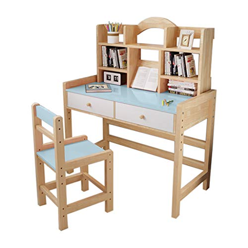 PUTEARDAT Students Desk and Chair Set,Height Adjustable Wooden Student Desk and Chair Set with Drawers and Bookshelves, Home Office Desk Computer Desk Laptop Desk, Child Student Writing Table(Blue)