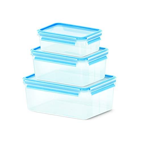 Emsa 512753 Clip & Close Frischhaltedosen | 3-teiliges Set | 1,00+ 2,20+ 3,70 L | -40 bis +100 Grad | Kunststoff | 100 % Dicht | Besondere Frische-Dichtung