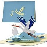 Glückwunschkarte zur Geburt Junge|Glückwunschkarte Geburt mit Pop up Vogel Storch für Mama und Papa|Baby Geschenk|Gutschein und Geschenk zur Geburt G23.2