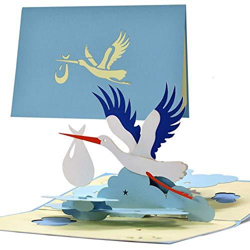 Tarjeta de felicitación para nacimiento de niño | Tarjeta de felicitación de nacimiento con pop up pájaro cigüeña para mamá y papá | Regalo de bebé | vale y regalo para nacimiento G23.2