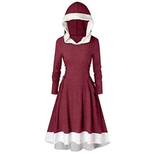 YWLINK Weihnachten Retro UnregelmäßIg Warm Patchwork Pulloverkleid Einfarbig Winter Party Vokuhila Elegant Kapuzenpullover Asymmetrisch Hoodie(E Weinrot,)