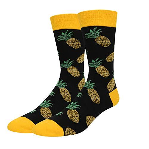 Zmart Men's Novelty Crazy Funny Pineapple Cool Funky Tropical Fruit Crew Socks