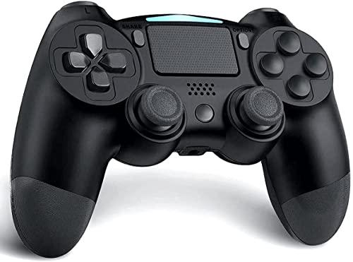 Lampelc Wireless Controller für PS4, Game Controller für PS4/Pro/Slim/PC, Bluetooth Gamepad Joystick mit Rechargable Remote Six-Axis Dual Vibration Shock und Audio Jack (Schwarz)