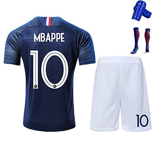 Kinder-Fußball-T-Shirt für Erwachsene, Mbappe Giroud Griezmann, französisches und internationales Trikot-Kit, Polyesterfaser, mit Socken, wiederwaschbar-blue10-140