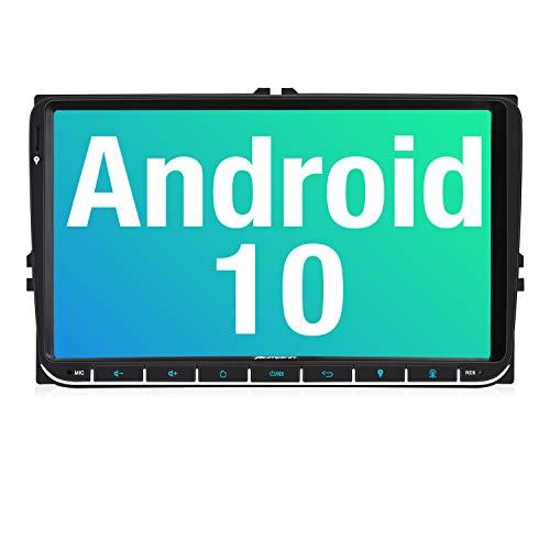 PUMPKIN 9 Zoll Android 10 Autoradio für VW Radio mit Navi Unterstützt Bluetooth DAB + USB Android Auto WiFi 4G MicroSD 2 Din