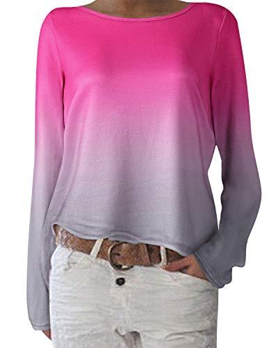 ZANZEA Damen Langarmshirts Lose Blumen Bluse U-Ausschnitt Oversize Sweatshirt Oberteil 01-blumen11 EU 44/Etikettgröße L