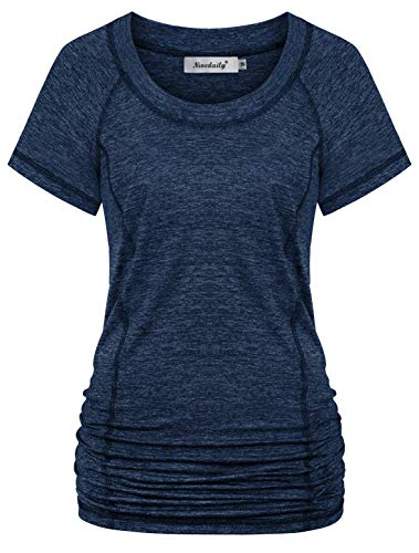Ninedaily Quick Dry Shirts for Women,Tummy Control High Impact Racerback Tank Tops Student School Physical Training T-Shirts Wear with High Waist Yoga Pants Backless Criss-Cross Size 12 14 Navy