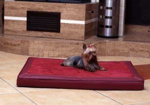 tierlando Carlos Ortho-Medic Orthopädische Hundematte Velours-Kunstleder VISCO Hundebett: Größe: M - 80x60cm | Farbe: 04 Bordeaux